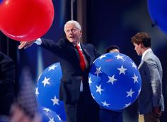 He touches another. | 17 Pictures Of Bill Clinton Playing With Balloons That You Need To See Before You Die