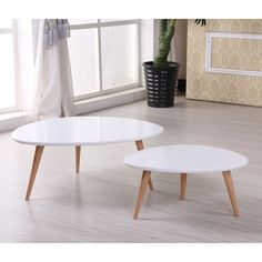 Isabella Modern Free Form Wood 2-piece Mid-century Style Coffee Table Set