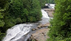 A favorite waterfall hike in the Asheville area is at DuPont State Forest, located between Brevard and Hendersonville. Located about 40 miles southwest of Asheville, this 10,000-acre North Carolina state forest is home to 900 miles of hiking trails. A three-mile roundtrip hike (mostly level with a couple of climbs) takes you to three beautiful waterfalls.