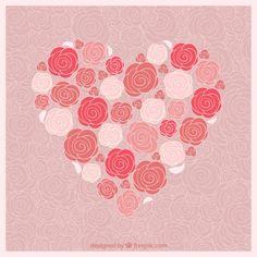 Coração feito das rosas Vetor grátis