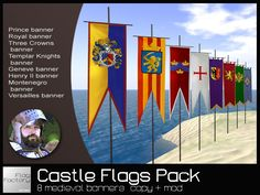 FLAGS * Castle Flags Medieval banners Deluxe Pack * copy/mod