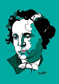 Limited edition Art Print ink drawing of British Author Lewis Carroll - Alice in Wonderland - Gift for Mad Hatters Alice In Wonderland Gifts, Lewis Carroll, Limited Edition Prints, Contemporary Art, Author, Ink, Art Prints, Portrait, Drawings