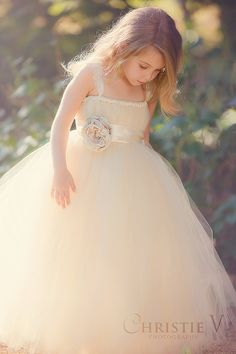 Ivory Champagne Flower Girl Tutu Dress with Flower Sash and Lace Cap Sleeves on Etsy, $80.00