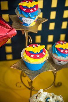 Wonder Woman cupcakes from a Wonder Woman Superhero Birthday Party on Kara's Party Ideas | KarasPartyIdeas.com (28)