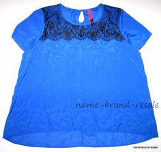 2daf581afcb PURE ENERGY NWT Womens PLUS 3X 22 24 BLUE Lace Neckline High Low Flowy Top  Shirt