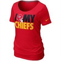 The Nike Kansas City Chiefs Dedication tri-blend t-shirt features a comfy, relaxed boyfriend cut with a wide scoop neck. Designed in Chiefs colors, the chest displays a screenprinted graphic celebrating your Chiefs. Show your pride and look cute doing it!