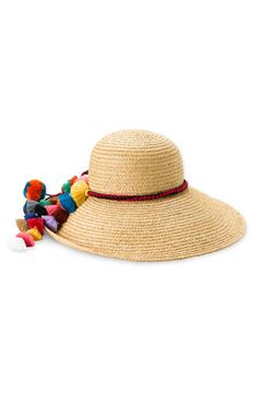Juicy Couture 'Pompom Tassels' Straw Sun Hat available at #Nordstrom