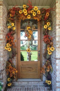 Fall Doorway designed by Flowers & Home of Bryant.  www.flowersandhome.com