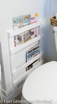 DIY Bathroom Magazine Rack... link for the How-to:    http://www.fourgenerationsoneroof.com/2013/04/bathroom-diy-magazine-rack-tutorial.html