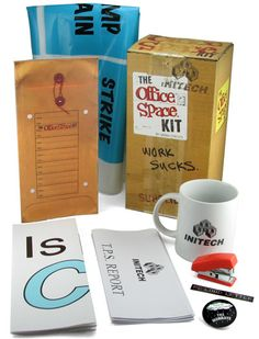 ThinkGeek :: The Office Space Kit !! includes some flair, red stapler, JUMP TO CONCLUSIONS MAT, +
