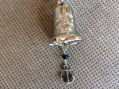 Unique and different motorcycle bell or gremlin bell with marine corp logo on bell and an anchor charm. by RealBeadDesigns on Etsy