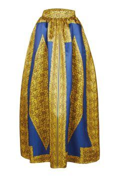 Yellow Blue African Print Maxi Skirt
