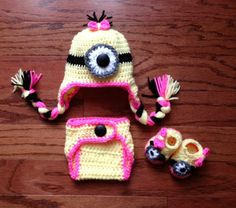 Crochet baby newborn through 12 mos Minion hat for girl or boy photography prop on Etsy, $33.00