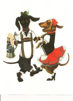 8X10 PRINT OF PAINTING RYTA DACHSHUND OCTOBERFEST OKTOBERFEST GERMAN FOLK ART