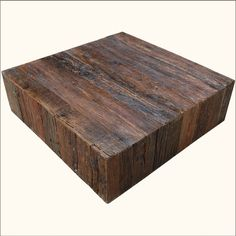 Rustic Railroad Ties Reclaimed Wood Square Sofa Cocktail Coffee Table  Furniture