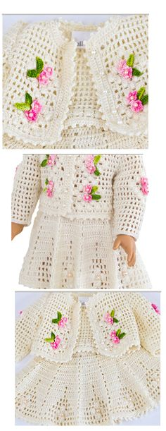 American Girl Crochet, American Girl Crafts, Baby Girl Crochet, Crochet For Kids, Vestidos Bebe Crochet, Baby Pullover, Crotchet Patterns, Baby Cocoon, Crochet Doll Clothes