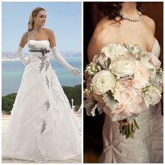Romantisch boeket in combinatie met een Ladybird trouwjurk van www.weddings.nl