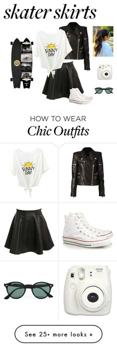 """""""Skater Skirts: Contest"""" by bhaney on Polyvore featuring Balmain, Pilot, Converse, Ray-Ban, contest and skaterSkirts"""