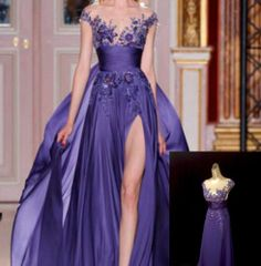 N409 Purple Wedding Bridal Lace Embroidess Stunning Cocktail Party Dress UK6-18