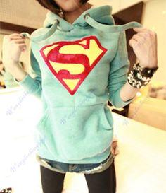 Womens Cute Superman Logo Long Sleeve Hoodie Casual Pullover Coat Tops Outwear