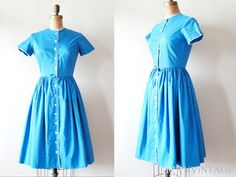 vintage 1950s dress  iNDiGO OCEAN 50s blue by by shopREiNViNTAGE, $ 106.00