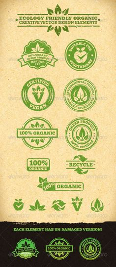 Ecology Friendly Organic Vector Design Elements #logos #icon #vector #image #design