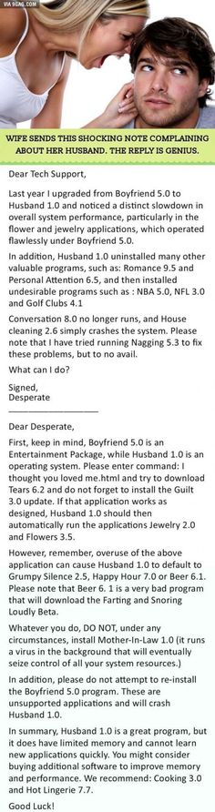 Best reply to a relationship complain ever!