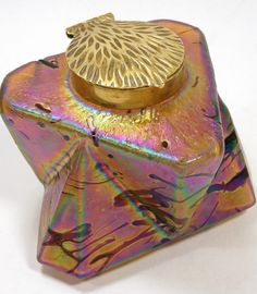 Antique Art Nouveau KRALIK Iridescent BACILLUS Geometric INKWELL with LINER