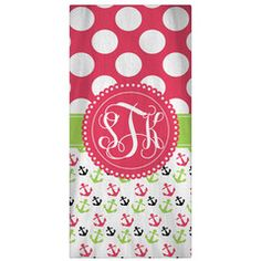 olka Dots & Anchors Personalized Beach Towel Personalized & Monogrammed beach towels are fun and practical. Take these lightweight absorbent towels with you to the beach, pool, family vacation or gym.  Great for swim teams, end of the year teacher gifts, Mother's day, Birthday, Bridal Party gifts and more.  Towel are lightweight are polyester/cotton blend towels.  They fold nice and flat so they don't take up much space. You can re-use over and over and the colors stay beautiful and vibrant.