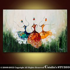 Abstract Ballet Ballerina Painting Textured Modern by Catalin, $199.00