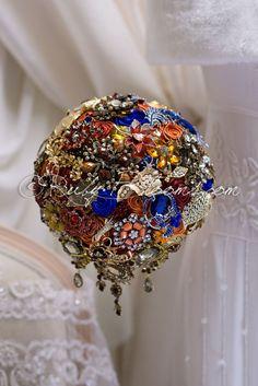 Wedding brooch bouquet Autumn in Blue