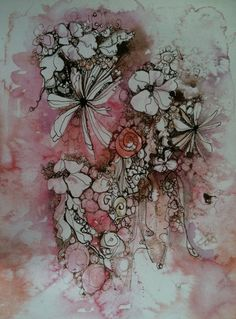 Pretty Pink & brown flower ink drawing A4 print by Katiewoodesigns, $18.50
