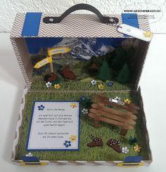 Reisekoffer Koffer mit Berge Berglandschaft Wanderferien Feriengutschein Reisegutschein