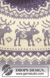 "Reindeer Swing / DROPS - Knitted DROPS jumper with raglan sleeves and reindeer pattern on yoke in ""Nepal"". Sweater Knitting Patterns, Knitting Charts, Knitting Stitches, Knitting Yarn, Knit Patterns, Free Knitting, Drops Design, Crochet Crafts, Knit Crochet"