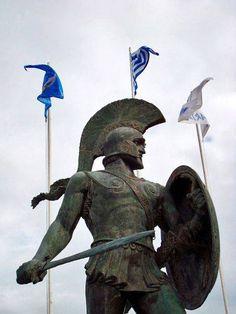 Statue of Spartan Warrior, Sparta, Greece, (near Mystra, Greece). Greek History, Roman History, Molon Labe, Ancient Rome, Ancient Greece, Statues, Greek Warrior, Spartan Warrior, Greek Art