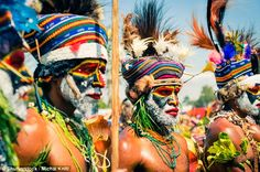 Genetic analysis of people living in modern Melanesia suggests they carry traces of unknown prehistoric relative of humans. Pictured are people from Papua New Guinea at a cultural Hagen show