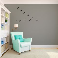 Flock of Geese Flying V Sihlouettes  Wall Decal by danadecals