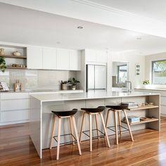17 First Ave / Projects / Polytec Blossom White Matt, Prime Oak Woodmatt and Taupe Matt Modern Kitchen Design, Ideal Home, Kitchen Inspiration, Taupe, Kitchens, Aesthetics, Rooms, Interiors, Cabinet