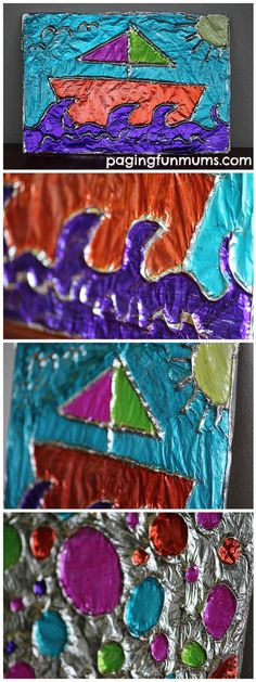 Drawings Amazing Tin Foil Art - FUN for Kids! - and now I need glue gun - This Textured Tin Foil Art was so much fun to create! We were so thrilled with the vibrant colours and interesting textures that this process created! Summer Crafts, Summer Art, Feuille Aluminium Art, Tin Foil Art, Tin Art, Tin Foil Crafts, Ecole Art, Camping Crafts, Camping Gear