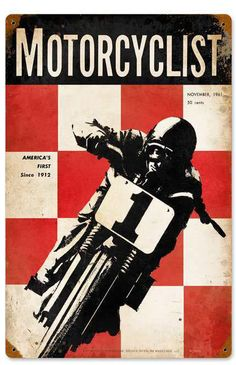 Retro Motorcyclist November 1951 Metal Sign 12 x 18 Inches Retro Motorcyclist November 1951 Tin Sign 12 x 18 Inches Unique Metal Wall Art. Made in USA! - Your Retro Store Bike Poster, Motorcycle Posters, Motorcycle Art, Bike Art, Enduro Vintage, Vintage Motorcycles, Scrambler Motorcycle, Bobber, Vintage Racing