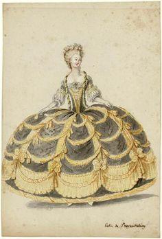 Charles-Germain de Saint-Aubin, dame en robe de cour de présentation, avec panier garnie en échelle de Jacob.  ©Photo Les Arts Décoratifs, Paris  Tous droits réservés