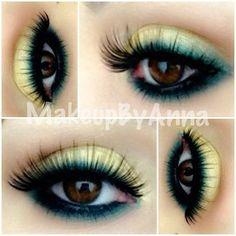 MAC - gorgeous gold & bottle green eyeshadow, smolder MAC eyeliner and lashes