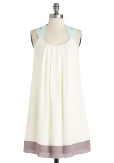 Showered with Love Dress. Wearing this casually-elegant, cream trapeze dress, you cant help but feel supported and adored surrounded by your loved ones. #cream #modcloth