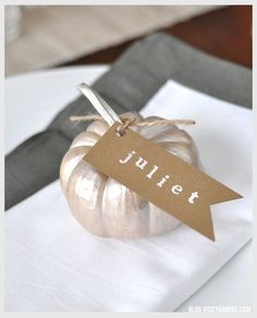 Thanksgiving Pumpkin Place Cards - Vicky Barone