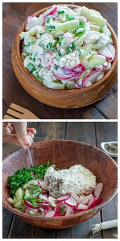 Creamy Cucumber Radish Salad Cucumber Radish Salad – A healthy combination of refreshing cucumbers, crunchy radishes and creamy cottage cheese. Radish Recipes, Salad Recipes, Keto Recipes, Vegetarian Recipes, Cooking Recipes, Healthy Recipes, Recipes Dinner, Clean Eating Snacks, Healthy Snacks
