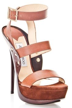 Halley Sandals in Brown Take your look to new heights of sophistication; Brown leather strap embellished with gold-tone flat studs; Gold-tone buckle at ankle; Brown suede-covered platform RubbersoleWomen #Shoes