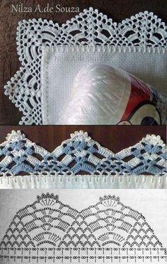 50 Ideas for crochet lace edging ganchillo Crochet Boarders, Crochet Edging Patterns, Crochet Lace Edging, Crochet Hook Set, Crochet Motifs, Crochet Chart, Lace Patterns, Thread Crochet, Crochet Designs