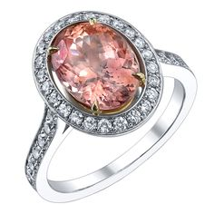Rare Natural Padparadscha Sapphire and Diamond ring.