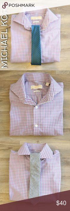 Michael Kors Purple Plaid Button Down Michael Kors purple and bluish-gray plaid button down dress shirt. 100% Cotton Non-Iron 15.5/32-33 MICHAEL Michael Kors Shirts Dress Shirts