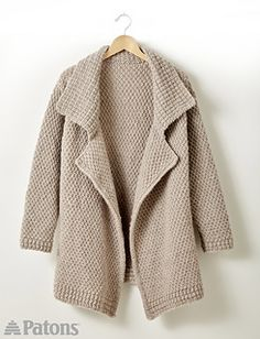 The lapel cardigan is something we've been seeing everywhere - and you'll want to wear it everywhere! Perfect from a lazy Sunday to a night out, this cardi is warm and cozy. Easily knit in Patons Classic Wool Roving.